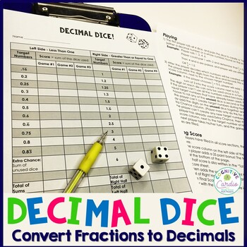 Decimal Dice - A Fraction to Decimal Conversion Game
