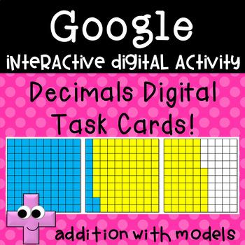 Decimal Digtal Task Cards ~ Addition problems with models