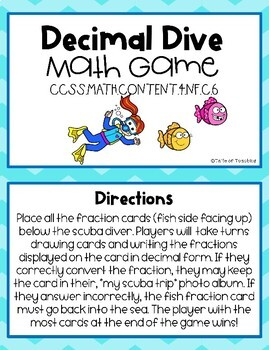 4th Grade Decimal Math Game