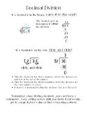 Decimal Division Anchor Chart/Math Notebook Entry