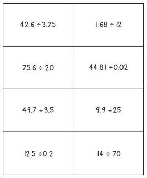 Decimal Division Math Bingo - Math Review Game
