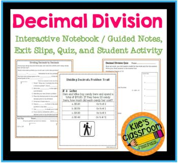Decimal Division Interactive Notebook, Exit Slips, Quiz, and Activity