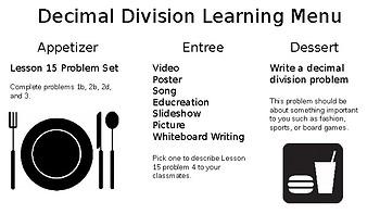 Decimal Division Learning Menu