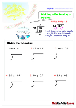 Decimal Division = Poster/Anchor Chart with Cards for Students & Worksheets