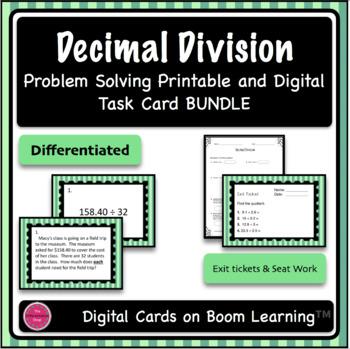 Decimal Division Printable Task Card & Digital Boom Card Deck BUNDLE