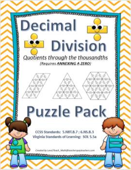 Decimal Division Puzzle Pack- Quotients Through the Thousandths (Annex a Zero)