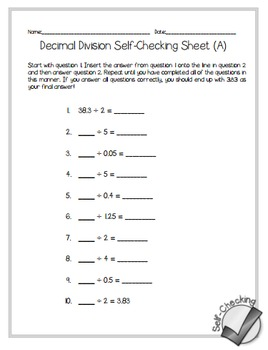 Decimal Division Self-Checking Worksheets - Differentiated