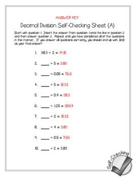 decimal division self checking worksheets differentiated tpt. Black Bedroom Furniture Sets. Home Design Ideas