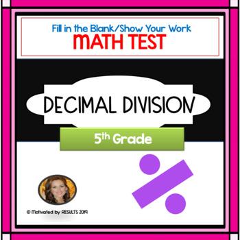 Decimal Division TESTwith Answer Key
