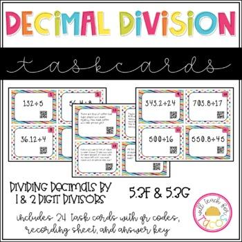Decimal Division Task Cards 5.3F 5.3G