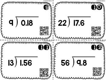 Decimal Division Task Cards - Decimal by Whole Number - CCSS & TEKS Aligned