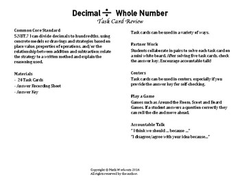 Decimal Division Task Cards - Divide Decimal by Whole Number