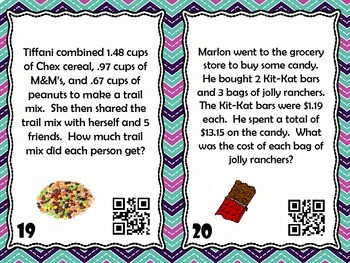 Decimal Division Task Cards with QR Codes