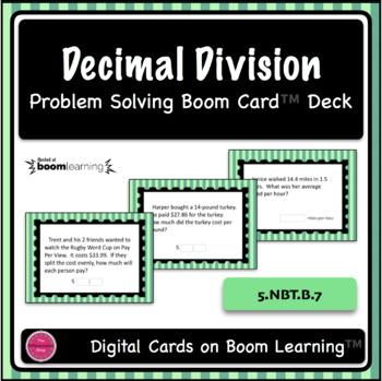Decimal Division Word Problem Digital Boom Card Deck (open ended)