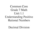 Grade 7 Common Core Unit 1.1 Decimal Division Worksheet