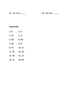 Grade 7 Common Core Unit 1.1 Decimal Division Worksheet