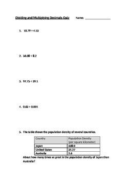Decimal Division and Multiplication Quiz