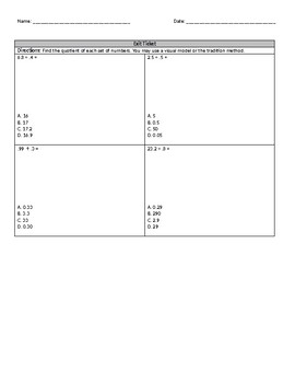 Decimal Division by Decimal Mini Lesson and Worksheet (Reteach/Intervention)