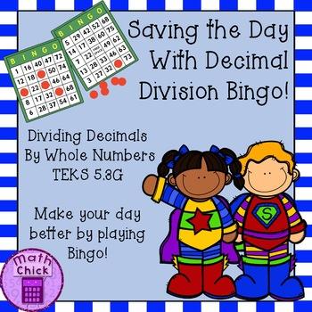 Decimal Division by Whole Numbers Bingo Game TEKS 5.3G