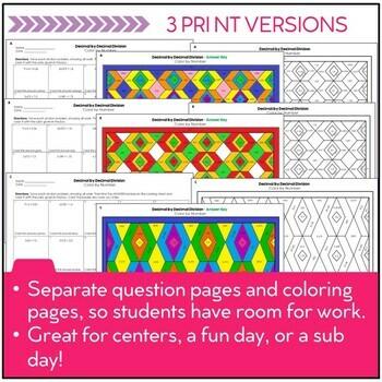Decimal Division Color by Number (Dividing Decimals by Decimals)