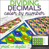 Dividing Decimals by Decimals Color by Number | Decimal Division