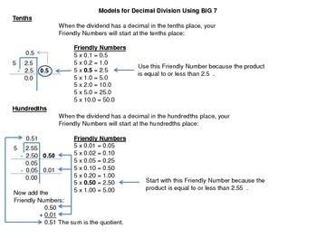 Decimal Division using BIG 7 model charts