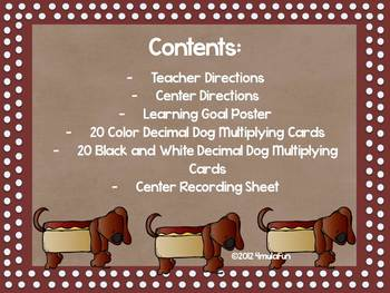 Decimal Dog- Multiplying Decimals Task Cards