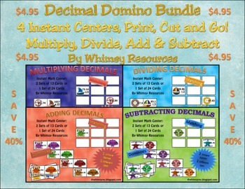 Decimal Domino Math Center Bundle Nautical