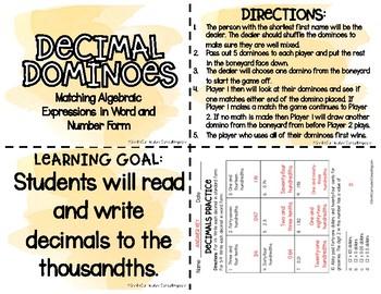 Decimal Dominoes Through Hundredths