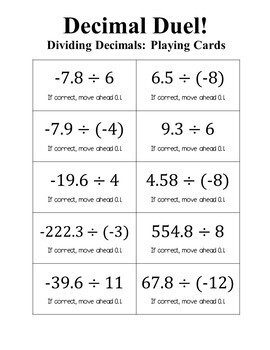Decimal Duel! Dividing Decimals Board Game (Negative Number Edition)