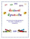 Decimal Dynamite A Writing Decimals Activity