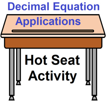 Decimal Equation Applications Hot Seat Activity