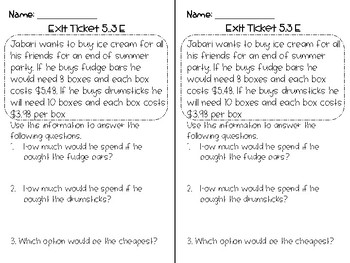Decimal Exit Ticket ***FREEBIE*** 5th Grade TEKS