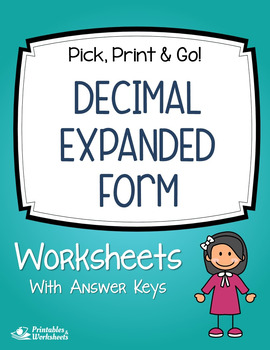 Expanded Form Decimal Place Value Review Assessment Worksheets