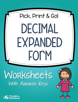 expanded form decimal place value review assessment worksheets  tpt
