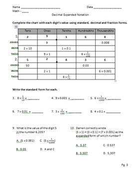 Decimal Expanded Notation
