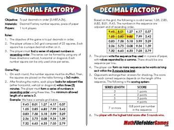 Decimal Factory - 5th Grade Game [CCSS 5.NBT.A.3b]