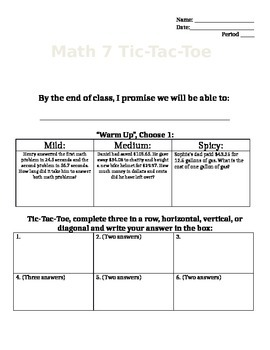 Decimal Fluency TicTacToe Learning Menu