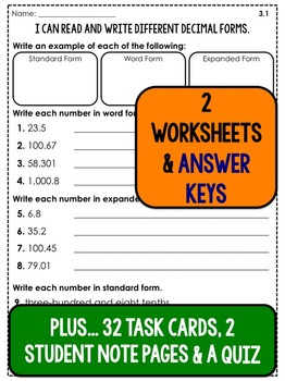 Decimal Forms - Lesson Plans, Task Cards, and Quiz
