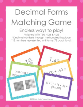 Decimal Forms Matching Game 4.2E (to the hundredths place)