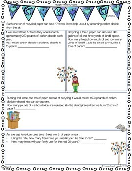 Earth Day Math Project with Fraction and Decimal Numbers