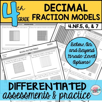 Decimal Fraction Models Assessments or Practice Sheets {Differentiated}