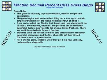Decimal Fraction Percent Bingo for the SMARTboard