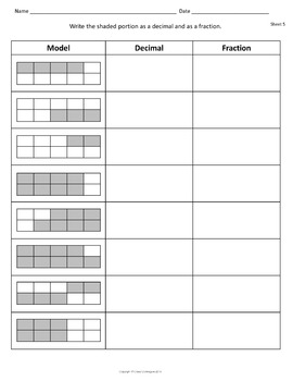 Decimal Fraction Percent Worksheets