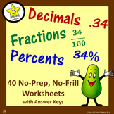 Decimal Fraction Percent Worksheets