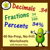 Decimal Fraction Percent Worksheets  Distance Learning