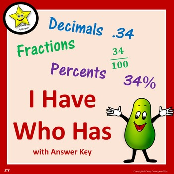 Decimal Fraction Percent I Have Who Has