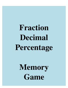 Decimal Fraction Percent Matching Game