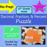 Decimal, Fraction, and Percent: Cut and Paste Puzzle