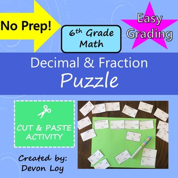 Decimal and Fraction: Cut and Paste Puzzle